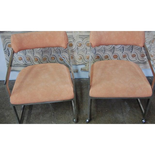 Peach Blush Dia Chrome Modernist Chairs - Pair - Image 6 of 11