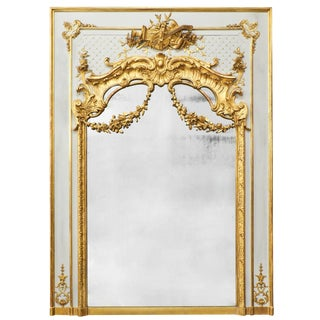19th Century Louis XVI Gold Leaf Trumeau Mirror For Sale