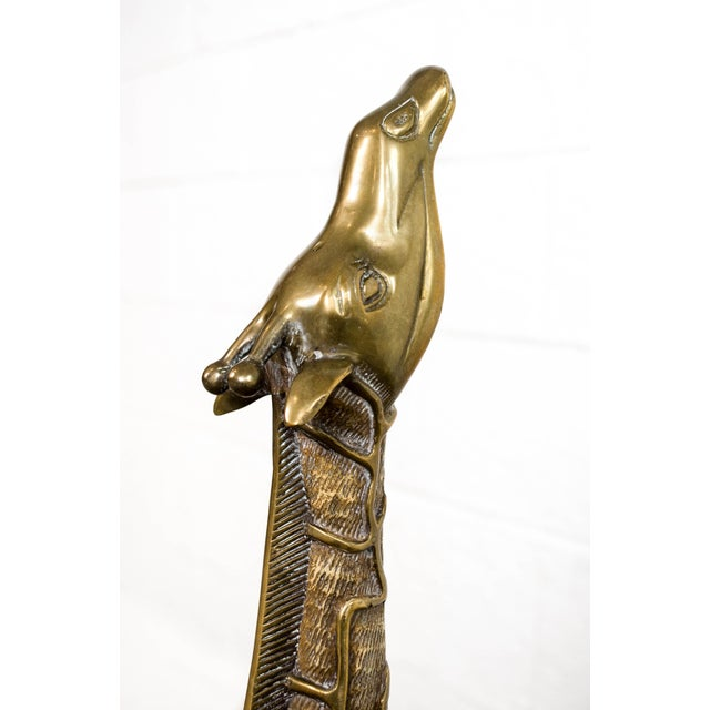 Brass Large Mid Century Brass Giraffe Floor Statues For Sale - Image 7 of 11