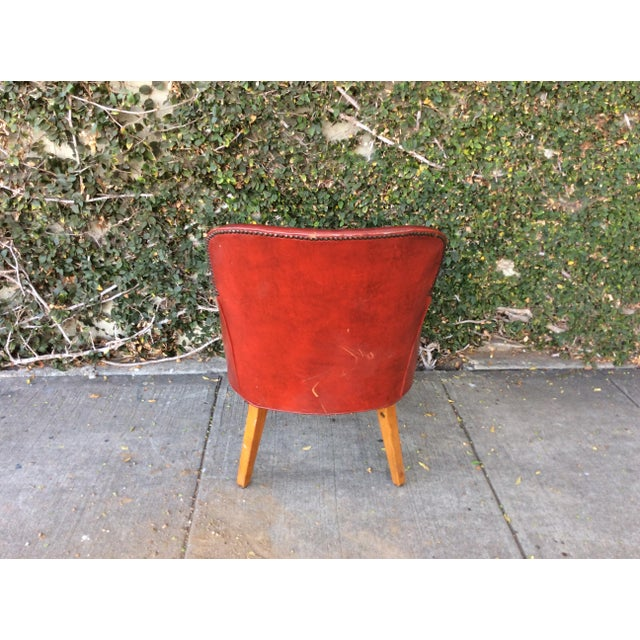 Vintage Red Leather Side Chair For Sale - Image 5 of 9