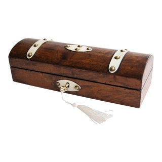 19th Century English Domed Walnut & Bone Overlay Pen & Pencil Box, Lock & Key For Sale