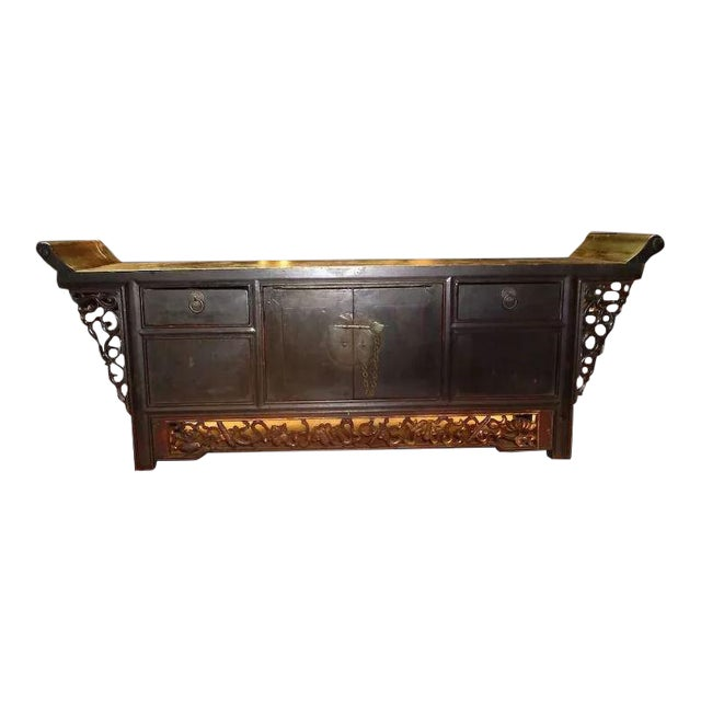 Asian Chinese Altar Coffer Cabinet For Sale