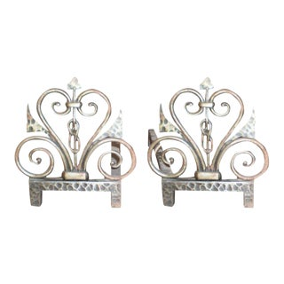 1940s French Art Deco Michel Zadounaisky Signed Wrought Iron Fireplace Chenets - a Pair For Sale