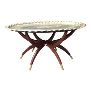 Mid Century Modern Brass Tray Coffee Table For Sale