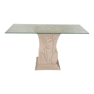 1980s Art Deco Foyer Glass Top Table For Sale