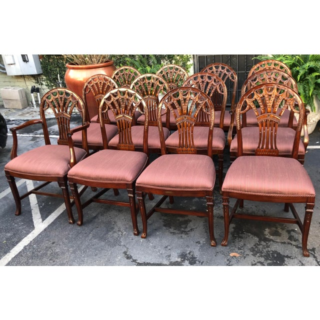 Set of 12 Maitland-Smith Georgian Mahogany Dining Chairs For Sale - Image 9 of 11