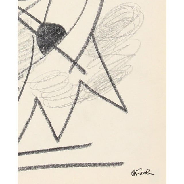 This late 20th century graphite on paper abstracted portrait is by Abstract Surrealist San Francisco artist Michael di...