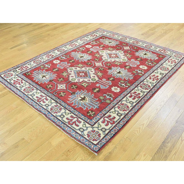 Shahbanu Rugs Hand-Knotted Pure Wool Geometric Design Red Kazak Rug- 5′ × 6′3″ For Sale - Image 4 of 12
