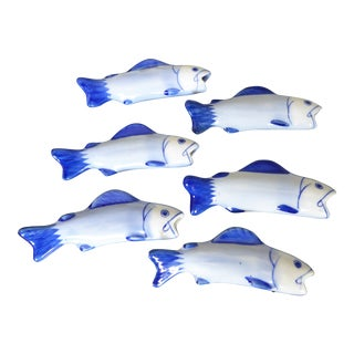 French Fish Ceramic Knife or Chopstick Rests - Set of 6 For Sale