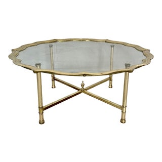 Vintage Brass and Glass Tray Top Coffee Table For Sale
