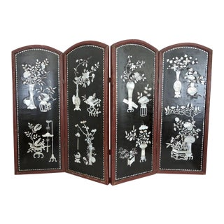 Antique Chinese Mother of Pearl & Black Lacquer Room Divider / Half Table Screen For Sale