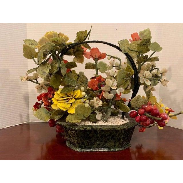 Vintage Chinese Export Hardstone Basket Floral Arrangement For Sale - Image 12 of 13