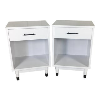 1960s White Lacquered Nightstands - A Pair