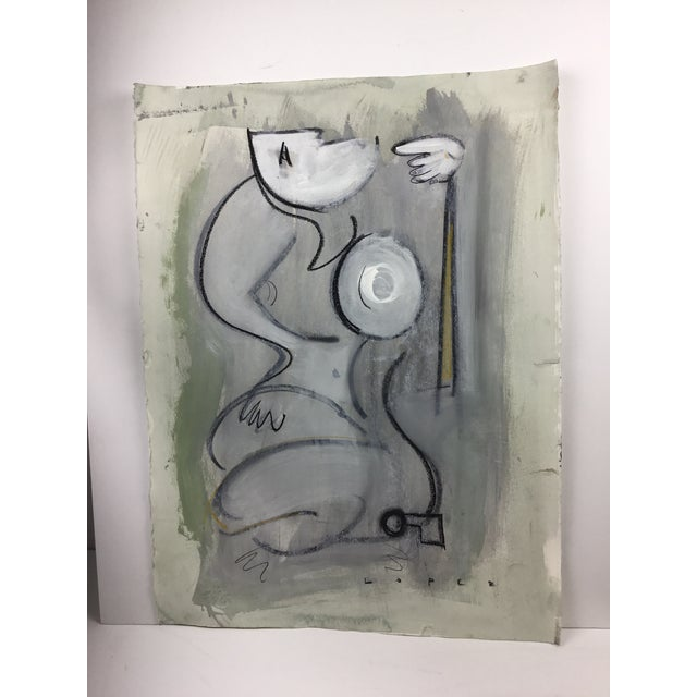 1960s Lucia Lopez Cubist Figurative Painting For Sale - Image 5 of 5