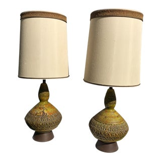 Mid-Century Green Lava Drip Glaze Lamps - a Pair