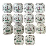 Image of Chinoiserie Hand Painted Salad/Dessert Plates Set/14 For Sale
