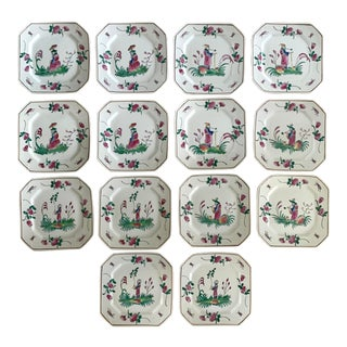 Chinoiserie Hand Painted Salad/Dessert Plates Set/14 For Sale