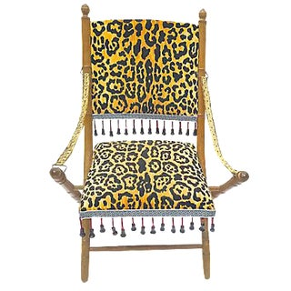Antique Leopard Folding Campaign Chair For Sale