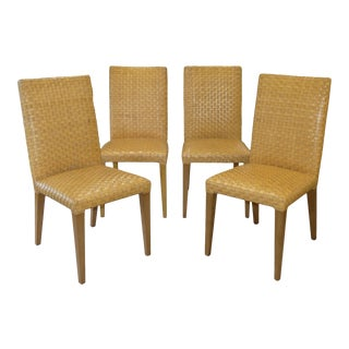 Stone International Woven Leather Dining Chairs- Set of 4 For Sale