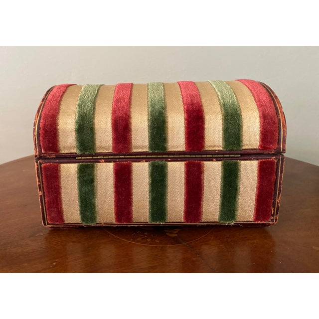 Vintage Striped Fomerz Italy Leather, Satin, Velvet, Felt Domed Box For Sale In Tampa - Image 6 of 12