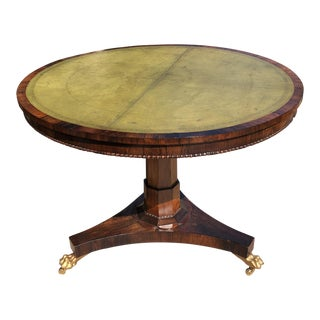 19th Century English Regency Leather Top Center Table
