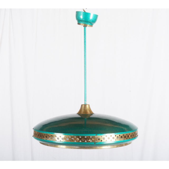 Mid-Century Brass & Steel Pendant Lamp, 1960s For Sale - Image 10 of 10