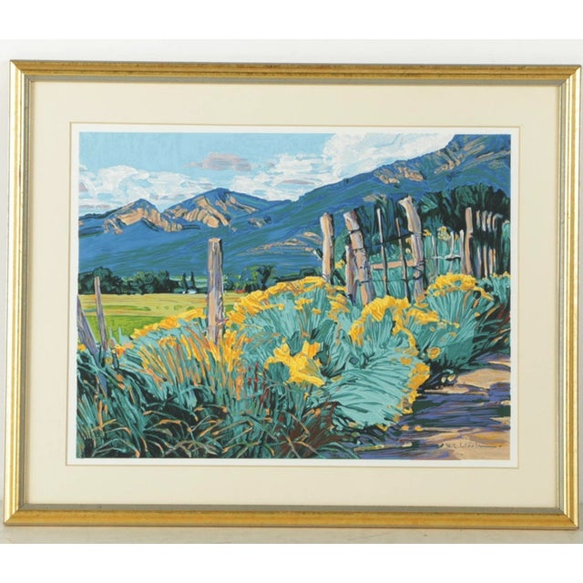 Turquoise Mid-Century Southwest Landscape Serigraph Print For Sale - Image 8 of 8
