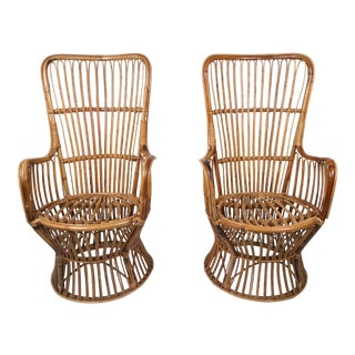 Boho Rattan Chairs, Pair For Sale