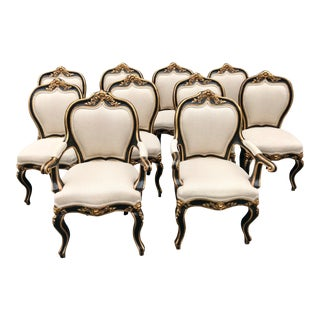 19th Century Antique Italian Polycrome Ebonized and Gold Gilt Chairs - Set of 10 For Sale