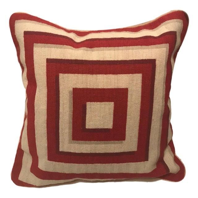 Jonathan Adler Style Vintage Geometric Red Cream Needlepoint Pillow - Image 5 of 5