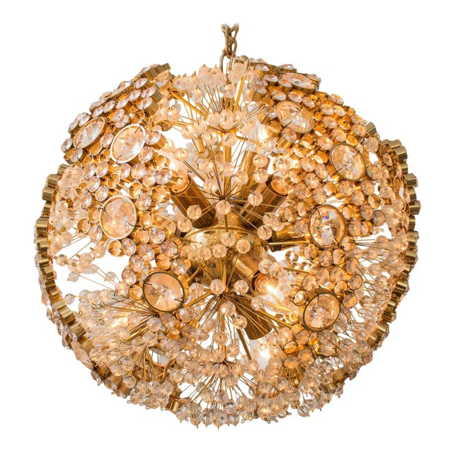 Gilt Brass J.L. Lobmeyr Chandelier For Sale