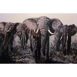 "Mark King ""Elephant Stand"" Signed African Bull Safari Serigraph Unframed For Sale"