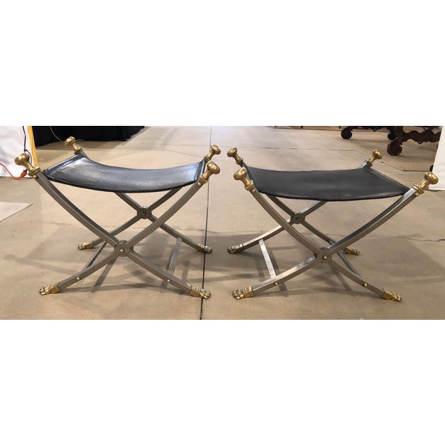 Late 20th Century Jansen Style Sling Leather Seat Folding Stools- A Pair For Sale - Image 9 of 9