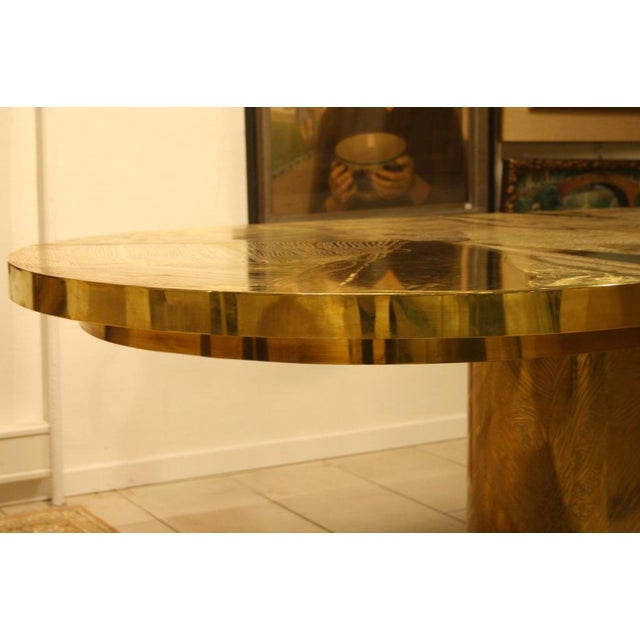 Armand Jonckers Signed Armand Jonckers Etched Bronze Dining Table For Sale - Image 4 of 9