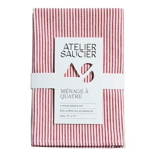 Candy Stripe Red & White Napkins - Set of 4 For Sale