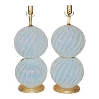 Vintage White Opaline Murano Glass Table Lamp Pair For Sale