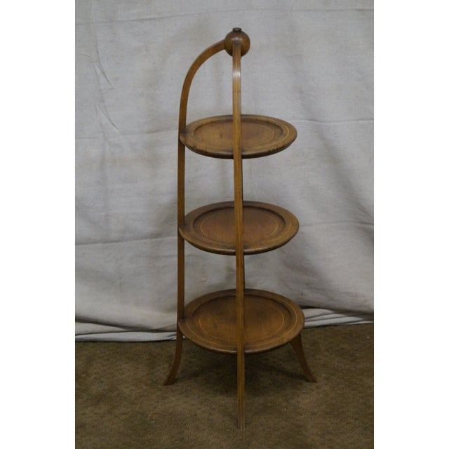 Hollywood Regency Biggs Mahogany Regency Style 3 Tier Muffin Stand For Sale - Image 3 of 10
