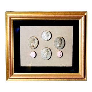 Early 19th Century Antique Framed Italian Plaster Cameos and Intaglios For Sale
