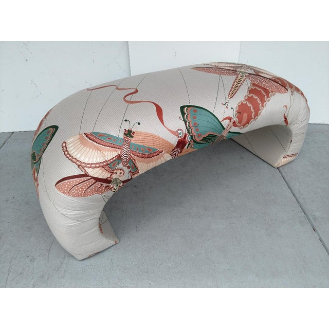 This is a great 1970's modern Asian styled upholstered bench. The original printed fabric is amazing. It is a very large...