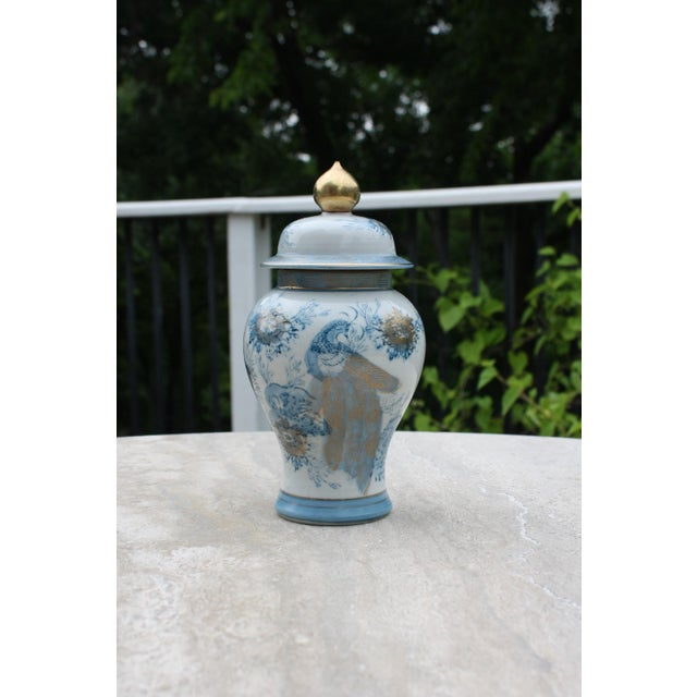 This vintage blue, white and gold Kutani temple jar also sometimes referred to as gold Imari has great color and detail...