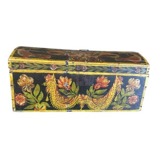 18th Century French Antique Folk Art Bride's Wedding Box Trunk For Sale