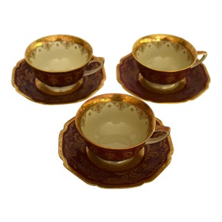 Heinrich and Co. Selb H & C Bavaria German Porcelain Red and Gold Encrusted Tea Cup and Saucer - Service for 3 For Sale