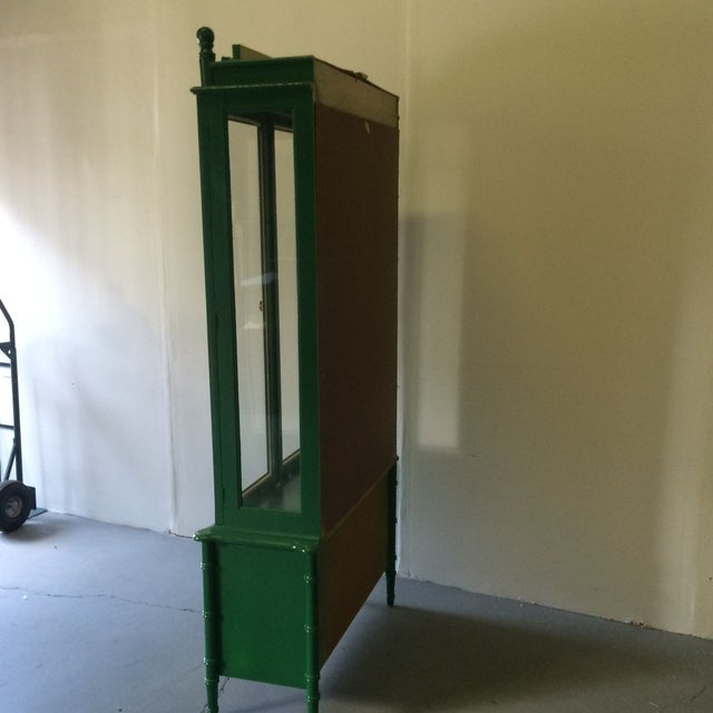 Vintage Green/Gold Bamboo Hutch For Sale In Atlanta - Image 6 of 8