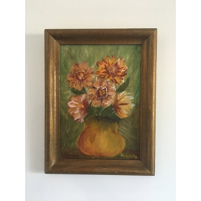 Green Vintage Floral Still Life Painting on Board For Sale - Image 8 of 8