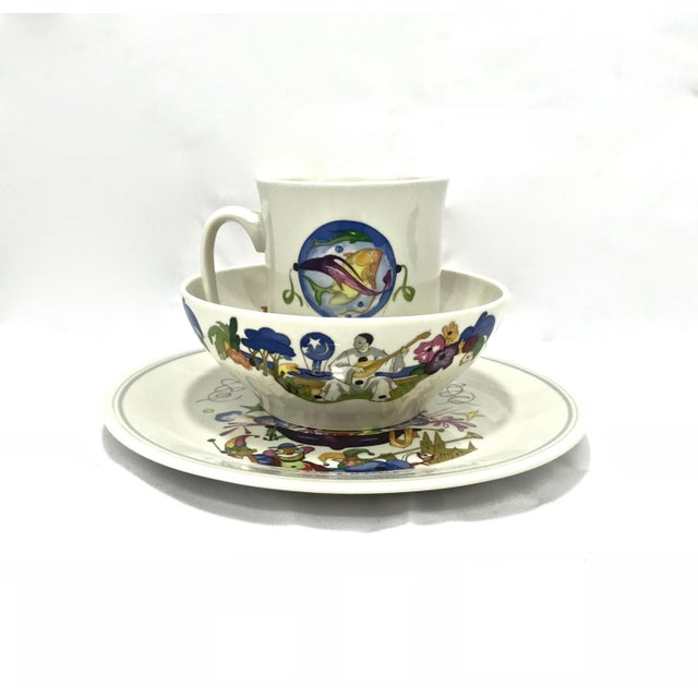 """Vintage Villeroy & Boch """"Le Ballon"""" circus themed breakfast set of mug, bowl and plate. This is a super fun set, hand-..."""