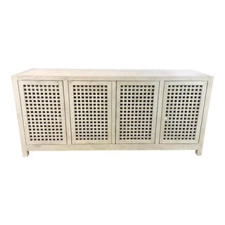 Studio a Modern White Washed Driftwood Lattice Credenza For Sale