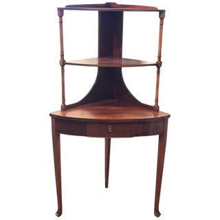 20th Century Edwardian Mahogany Corner Etagere For Sale