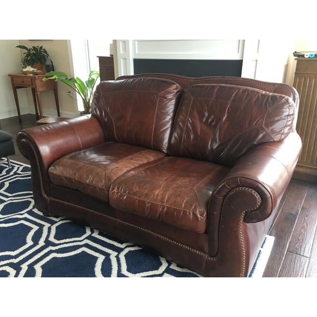 Haverty\'s (Leather Trend) Vintage Autumn Sofa and Loveseat Set