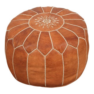 Moroccan Handcrafted Leather Camel Ottoman For Sale