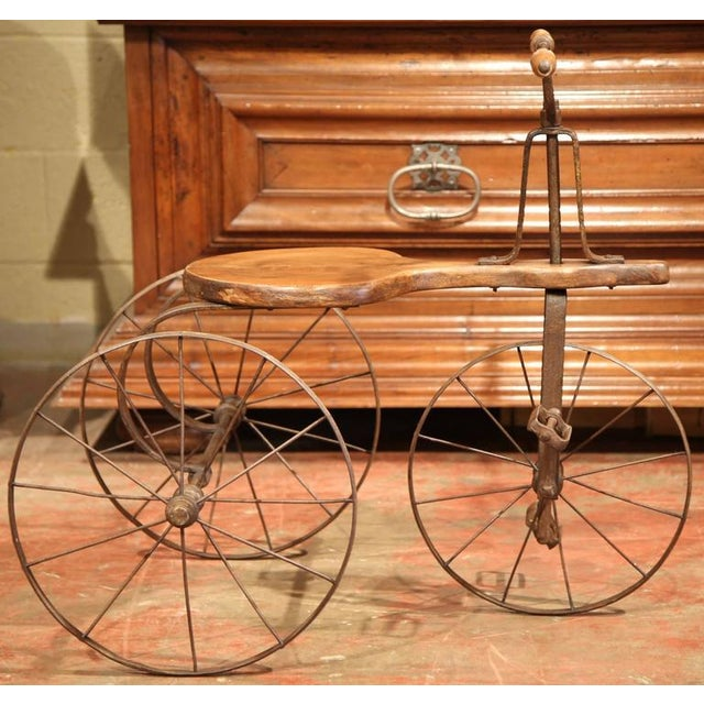 Early 19th Century 19th Century French Iron and Wood Tricycle in Wonderful Working Condition For Sale - Image 5 of 8